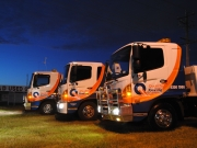 quality towing night time trucks